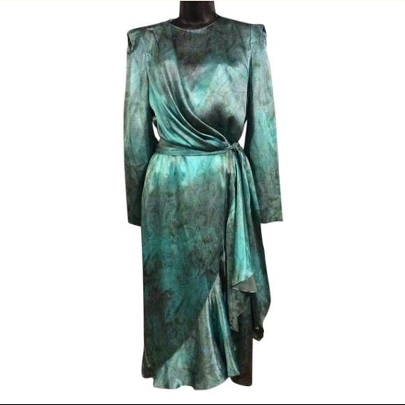 Louis Feraud Dresses & Skirts - Louis Feraud Vintage Flutter Faux Wrap Dress